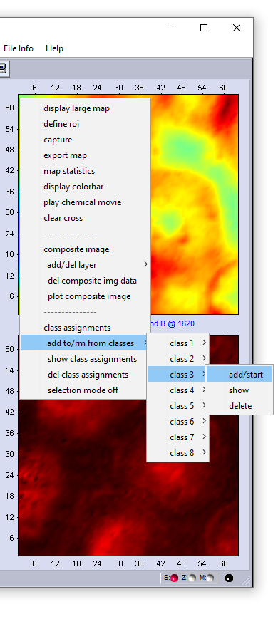 context menu of hyperspectral maps