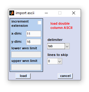 importing double column ASCII files